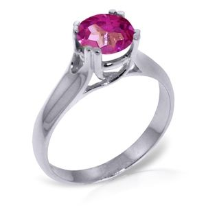 SOLID GOLD SOLITAIRE RING WITH NATURAL PINK TOPAZ